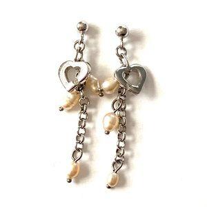 Sterling silver pearl heart dangle earrings 925
